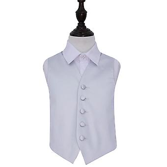 Silver Plain Satin Wedding Waistcoat for Boys