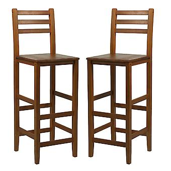 HOMCOM Acacia Wood Kitchen Bar Stools Chairs Counter Cafe Pub w/ Footrests Teak Colour