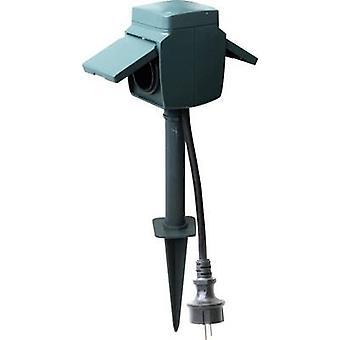 GAO 8472 Weatherproof socket strip 2x Dark green