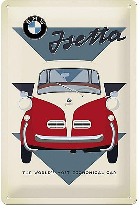 Bmw Isetta World'S Most Economical... Embossed Metal Sign 300Mm X 200Mm