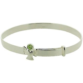 Jo For Girls Sterling Silver August Green Simulated Birthstone Angel Bangle