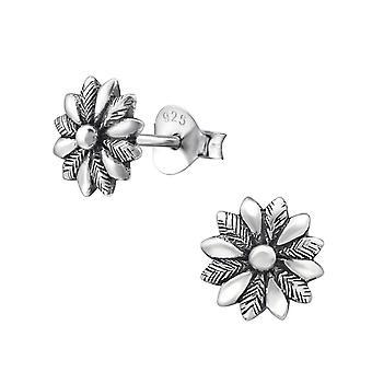 Flower - 925 Sterling Silver Plain Ear Studs - W29626x