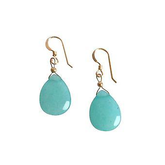 Gemshine Damen Ohrringe Jade Blau 925 Sterling Silber 2,5 cm
