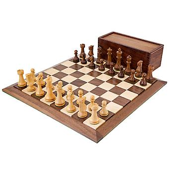Pioneer Solid Walnut and Sheesham Chess Set with Case
