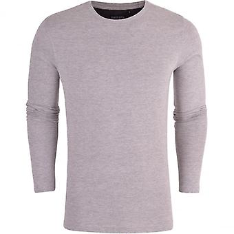 Brave Soul Mens Long Sleeved T-Shirt Plain Cotton Crew Neck Tee Casual Top