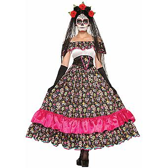 Day Of The Dead Senorita Mexican Spanish Skull Ghost Halloween Women Costume