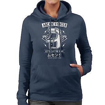 Arcade-Kämpfer Retro-Logo Damen Sweatshirt mit Kapuze