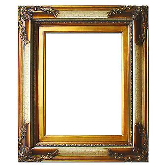 Wooden frame in gold and red, inner dimensions 50x60 cm