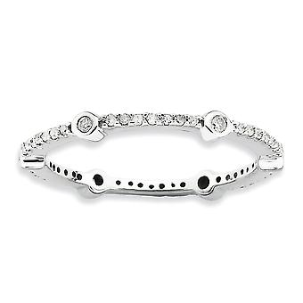 2.5mm Sterling Silver Bezel Prong set Rhodium-plated Stackable Expressions Polished Diamond Ring - Ring Size: 5 to 10