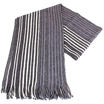 Bassin and Brown Lawton Striped Wool Scarf - Black/White/Grey
