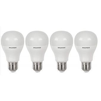 4 x Sylvania GLS A60 10W = 60W LED Light Bulb E27 Warm White 2700K 810lm [Energy Class A+]