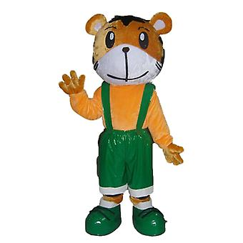 mascot Tiger orange and white, in green overalls SPOTSOUND