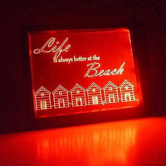 Beach Huts and Quote Colour Changing RC LED Mirror Light Frame