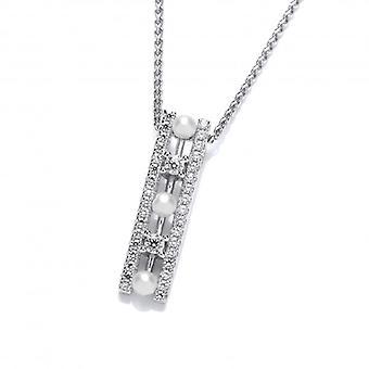 Cavendish francese Art Deco stile CZ e ciondolo perla d'acqua dolce con una catena d'argento