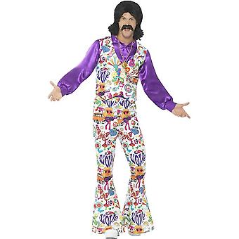 60's Groovy Hippie Costume, Multi-Coloured, with Waistcoat, Shirt & Flared Trousers