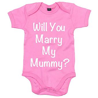 Will You Marry My Mummy? Pink Short Sleeve Baby Grow