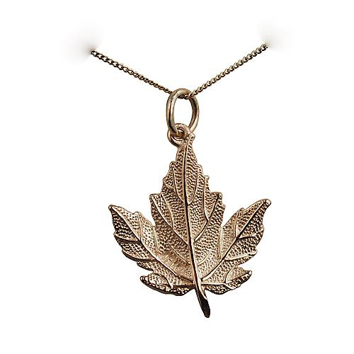 9ct Gold 22x19mm solid Maple Leaf Pendant with a curb Chain 16 inches Only Suitable for Children