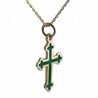 9ct Gold 21x15mm green cold cure enamel club end edge Cross with a cable Chain 16 inches Only Suitable for Children