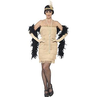 Womens goud Flapper Fancy Dress kostuum