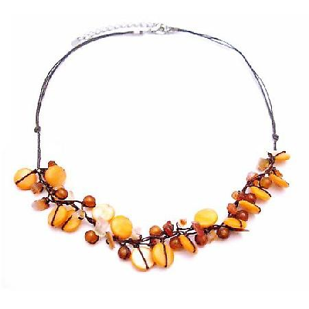 Carnelian Semi Precious Handmade Necklace Cord Wax String with Nugger & Mop Shell Necklace