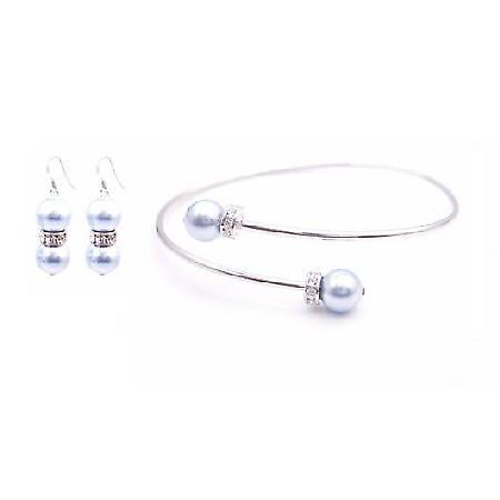 Cheap Wedding Jewelry Blue Aquamarine Pearl Cuff Bracelet & Earrings