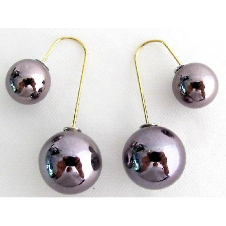 Mauve Double Sided Ball Earrings Swing Parallel