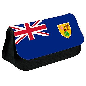 Turks and Caicos Islands Flag Printed Design Pencil Case for Stationary/Cosmetic - 0234 (Black) by i-Tronixs