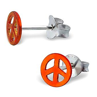 Miniature Peace Sign Sterling Silver Stud Earrings