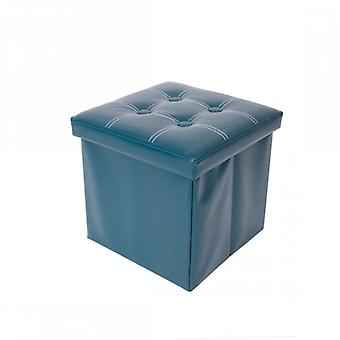 Rebecca Furniture Pouf container Puff stool cube open green Eco leather