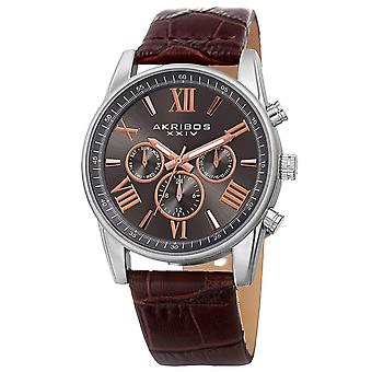 Akribos XXIV Men's Multifunction Genuine Leather Strap Watch AK911SSBR