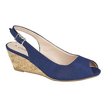 Ladies Womens Sandals Faux Suede Sling Back Peep Toe Buckle Wedge Shoes