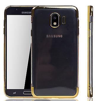 Handyhülle für Samsung Galaxy J4 2018 Gold - Clear - TPU Silikon Case Backcover Schutzhülle in Transparent / glänzender Rand Gold