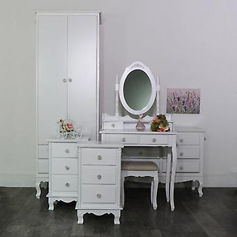 White Bedroom Set, Wardrobe, Dressing Table Set, Chest of Drawers and a Pair of Bedside Tables - Lila Range