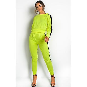 IKRUSH Womens Lois Neon Striped Lounge Co-ord