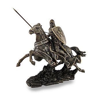 Armored Medieval Knight On Horse Bronzed Sculptural Statue