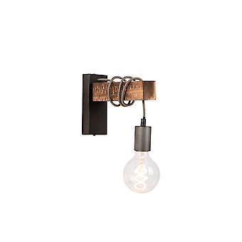 QAZQA Industrial wall lamp black with wood - Gallow