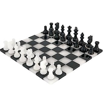 Black and White Edge to Edge Alabaster Chess Set 14 Inches