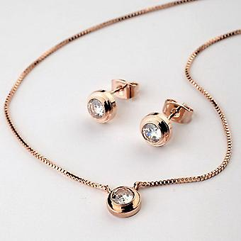18K Rose Gold Plated Solitaire Cubic Zirconia Set