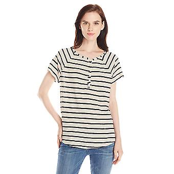 Lucky Brand Women's Even Stripe Top, Black, Medium, Black Stripe, Size Medium