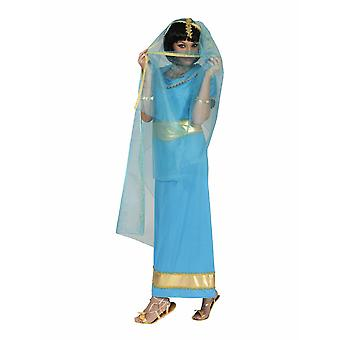 Indian Anandi Costume Ladies Dancer Bollywood Asia Veil Dress Blue Gold Orient Carnival Carnaval