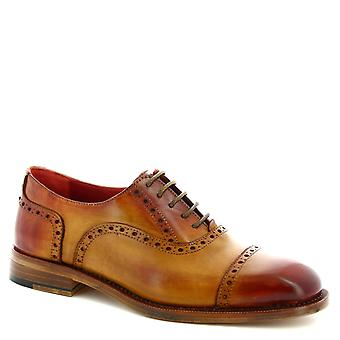 Leonardo Shoes Men-apos;s lace-ups brogue à la cet œil en cuir de veau tan