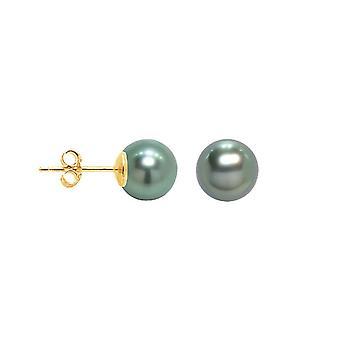 Boucles d'Oreilles Femme Puces Perles de Tahiti 8 mm et or jaune 750/1000