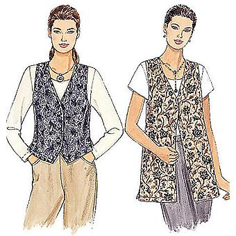 Misses' Unlined Vests In Two Lengths  Xlg Pattern M2260  Xlg