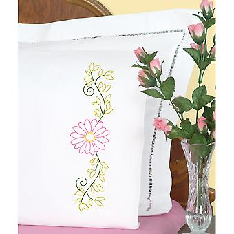 Stamped Pillowcases W/White Perle Edge 2/Pkg-Daisy 1600 553