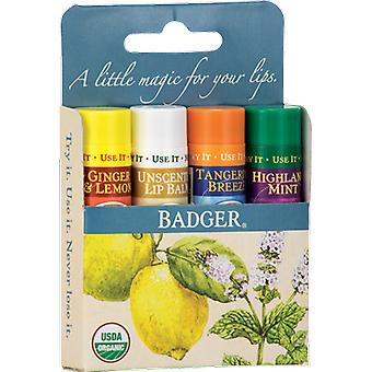 Badger Balm Classic Lip Balm Blue Pack