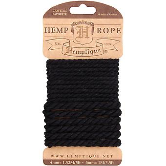 Hemp Rope Set 4mm & 6mm-Black HRCMBLK