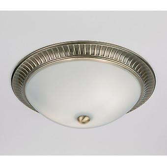 91123 Flush Light In Antique Brass With Opal Glass