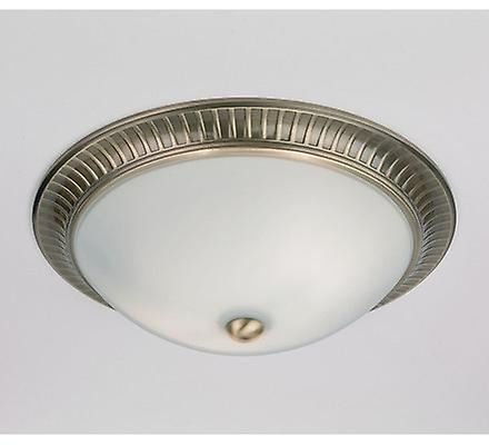 Endon 91123 Flush Light In Antique Brass With Opal Glass
