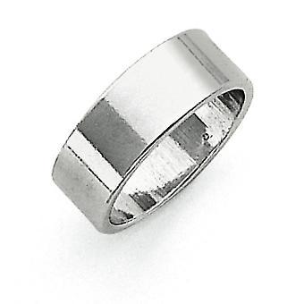 Sterling sølv 7mm flad Band Ring - ringstørrelse: 4-13
