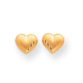 14k Yellow Gold Hollow Post Earrings Sparkle-Cut and Satin Puffed Heart Earrings - Measures 4x5mm